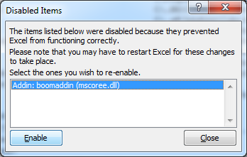 Excel 2010 Culprit Addin Reenable