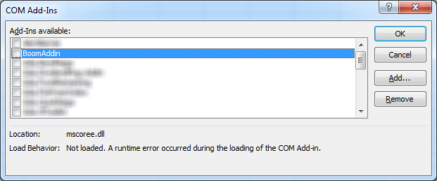 Excel COM addin error