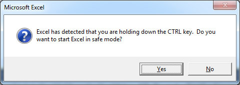 Excel start safemode