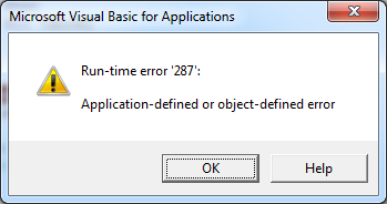 VBA connect disabled addin error popup
