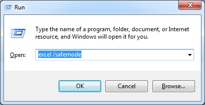Run Excel in safe-mode