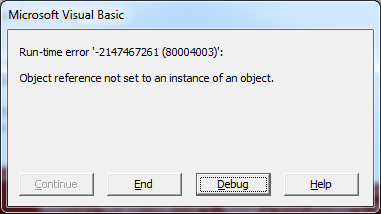 VBA Object reference error popup