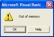 VBA Out of memory error
