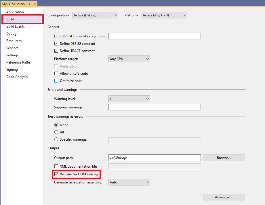 Register for COM interop