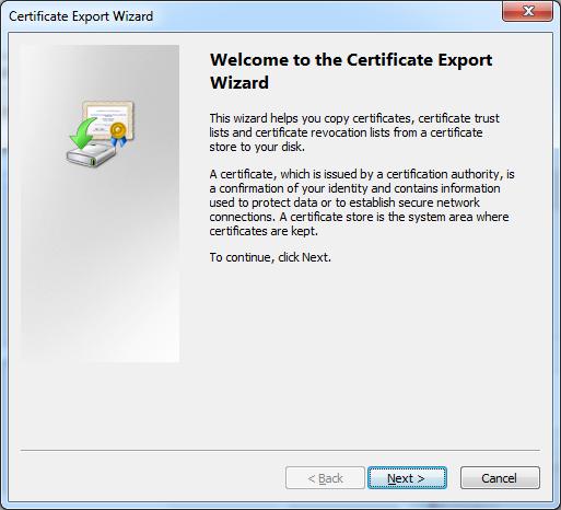 Certificate export wizard