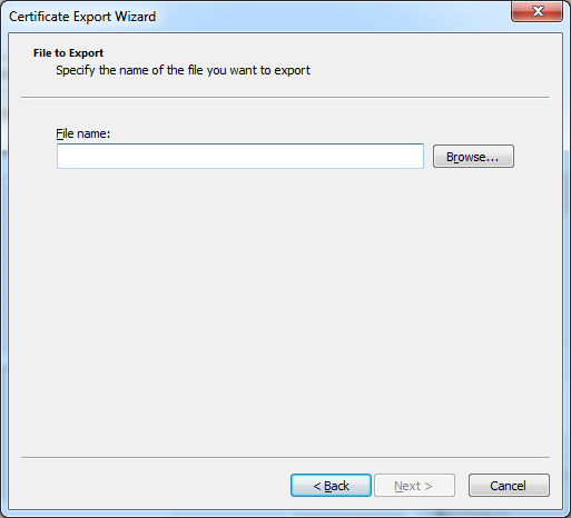 Certificate export file path