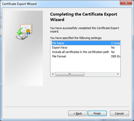 Certificate export check