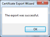 Certificate export successful