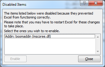 Excel 2010 Culprit Addin