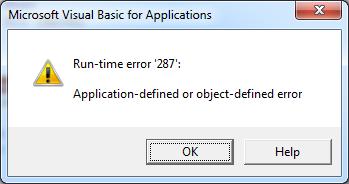 VBA connect disabled addin error popup